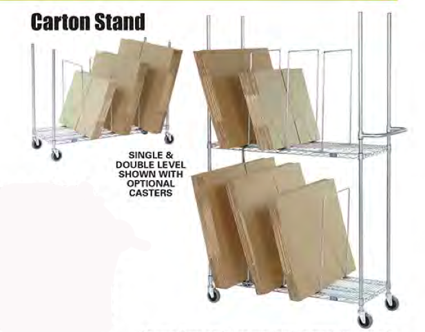 Nexel wire carton rack for your packaging station prime for Stand carton