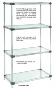 Nexel Calvanized and Stainless Steel Solid Shelves